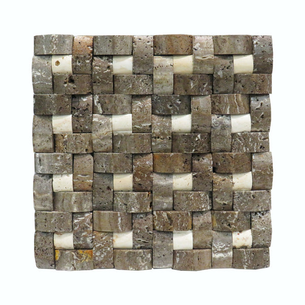 "Grey Travertine Linen 12""x 12"" Natural Stone Mosaic Tile"