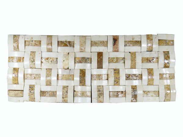 "White Marble Straw mat 19.7""x 7.8"" Natural Stone Mosaic Tile"