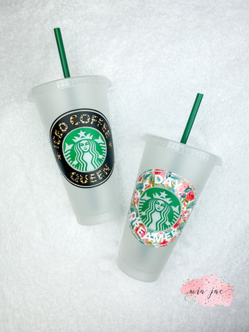 Colored Wording Cold Cup