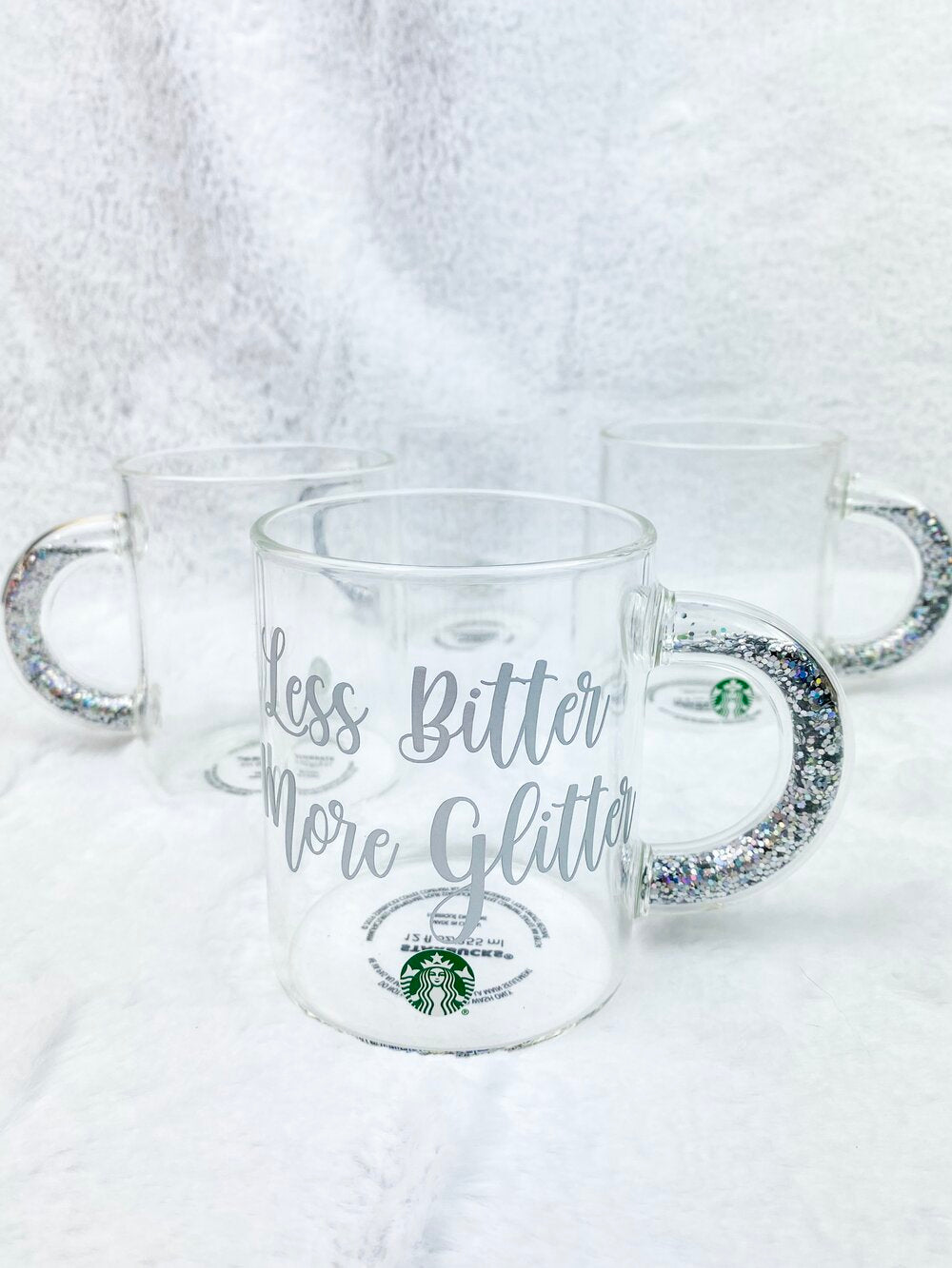 Personalized Clear Mug with Glitter Handle