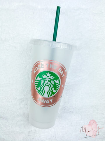 Rosé The Day Away Personalized Cold Cup