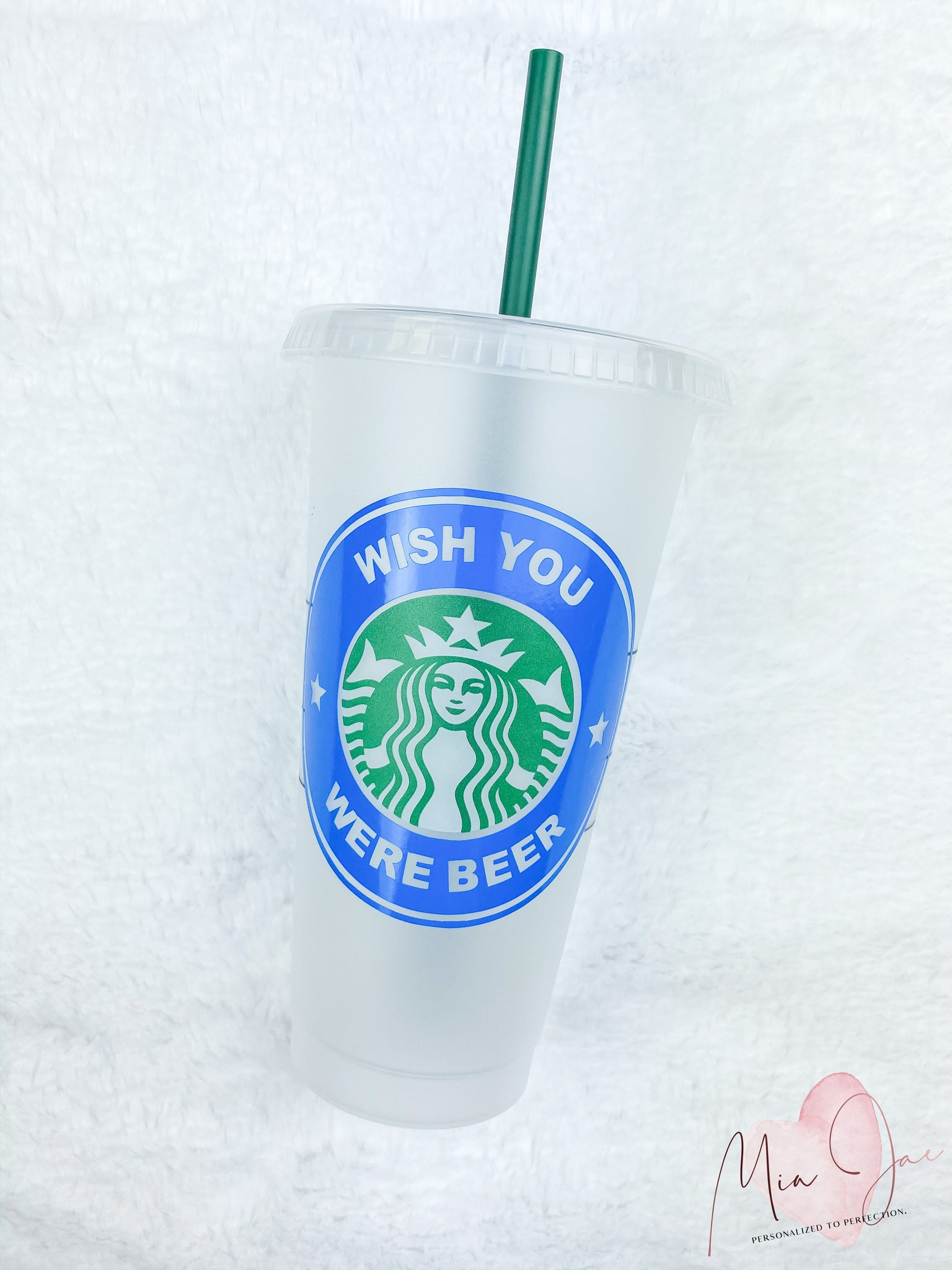 Wish You Were Beer Personalized Cold Cup