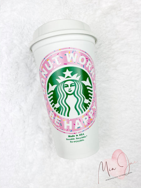 Donut Worry Be Happy Personalized Hot Cup