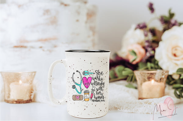 Nurse Proverbs 31:13 Mug