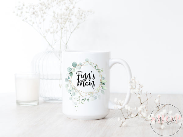 Custom Geometric Watercolor Wreath Mug