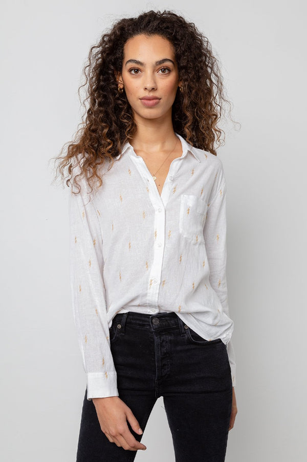 Charli Shirt in White Gold Electric