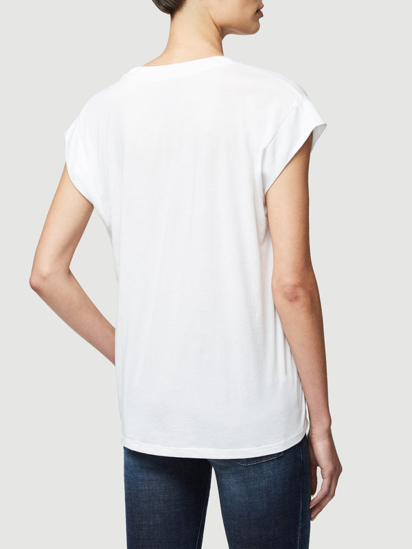 Le Mid Rise V Tee in White