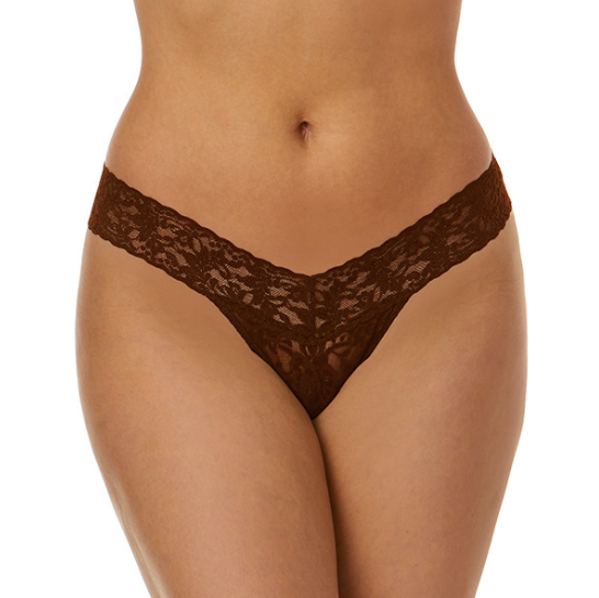 Signature Lace Low Rise Thong in Dark Cocoa