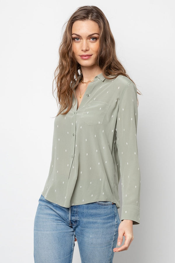 Kate Silk Blouse in Mint Cactus