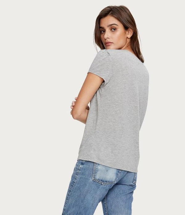 Lillian V- Neck Puff Sleeve Tee in Heather Grey