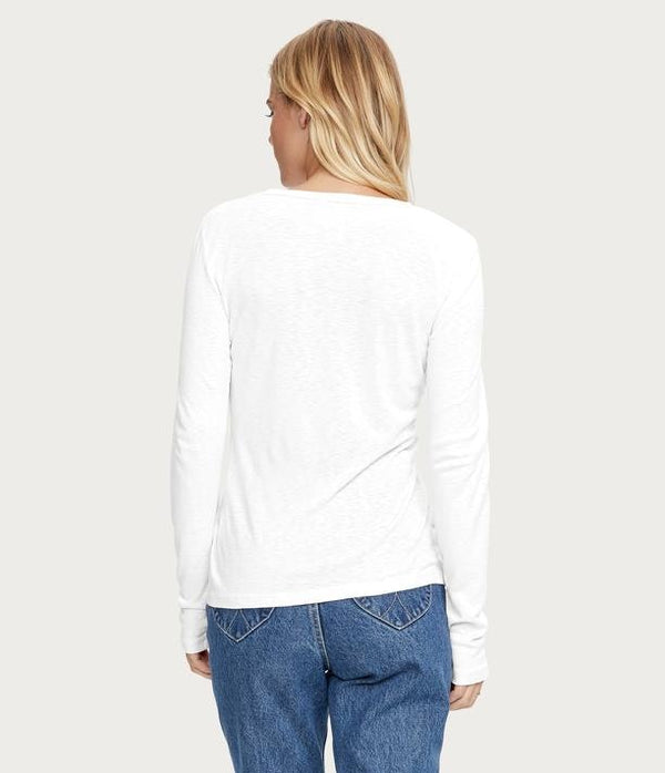 Kristen Long Sleeve Crew Neck Tee in White