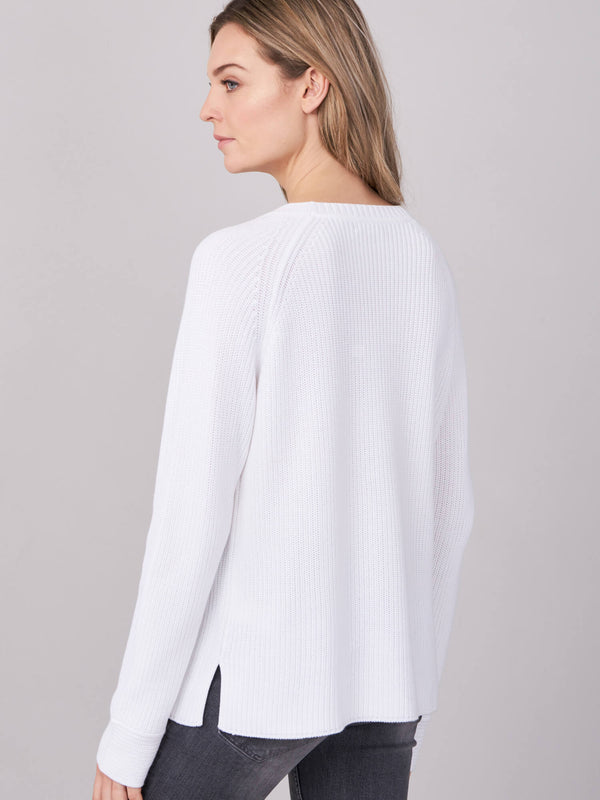 Cotton Knit V-Neck Sweater