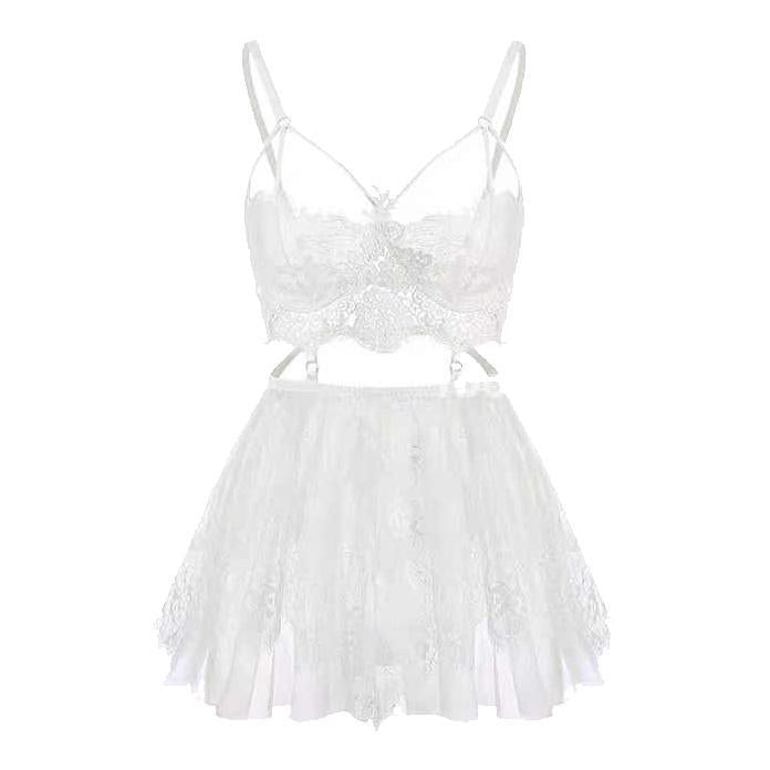 Serena White Lace Nightgown Set with Panties - Miscusi lingerie.