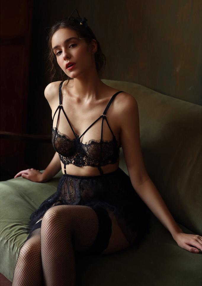 Serena Black Lace Nightgown Set with Panties - Miscusi lingerie.