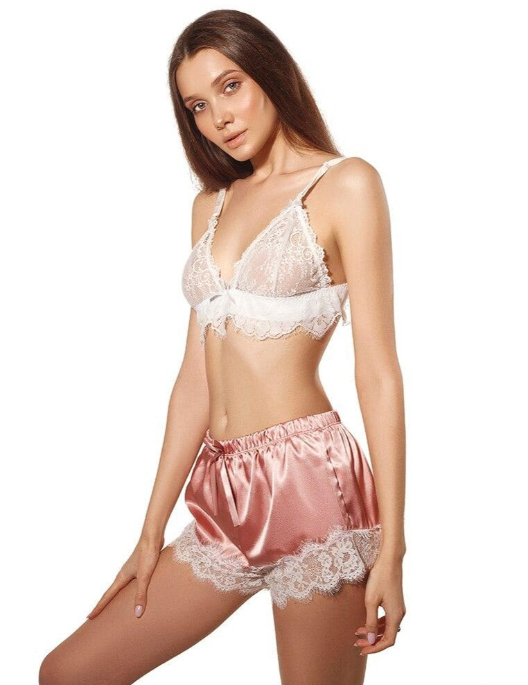 Melissa Pink Silk Look Night Set with White Lace Bra - Miscusi lingerie.
