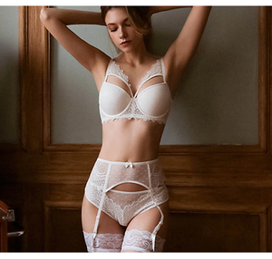 Bertha White Lace Push Up Bra & Garter Set - Miscusi lingerie.