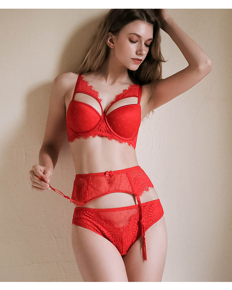 Bertha Scarlet Red Lace Push Up Bra & Garter Set - Miscusi lingerie.