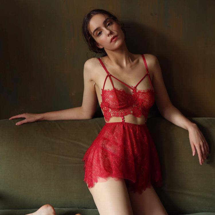 Serena Red Lace Nightgown Set with Panties - Miscusi lingerie.