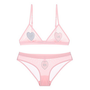 "Mckenzie ""Don't Care Nope"" Pink Lace Bra Set - Miscusi lingerie."