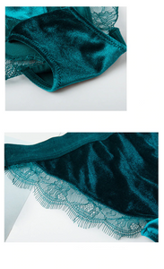 April Teal Green Velvet Bra Set - Miscusi lingerie.