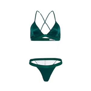 Cindy Teal Green Silk Bra Set - Miscusi lingerie.