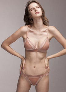 April Crepe Pink Velvet Bra Set - Miscusi lingerie.