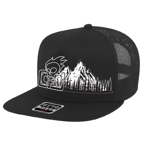 CFR Flat Brim Mountain outline trucker hats.