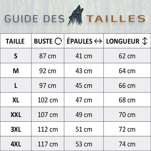 Guide des tailles tee shirt loup