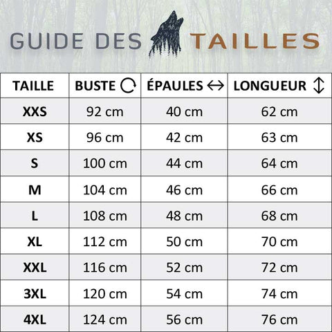 Guide des tailles tee shirts loup