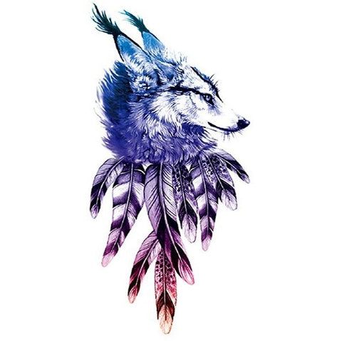 Tattoo loup plume