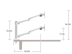 EasyLift Adjustable Standing Desk - Dual Monitor Arm schematic