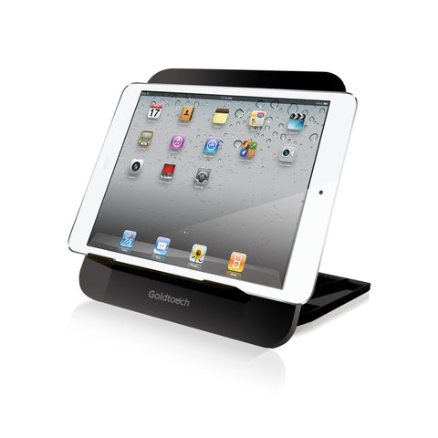 iPad set in Goldtouch travel tablet stand