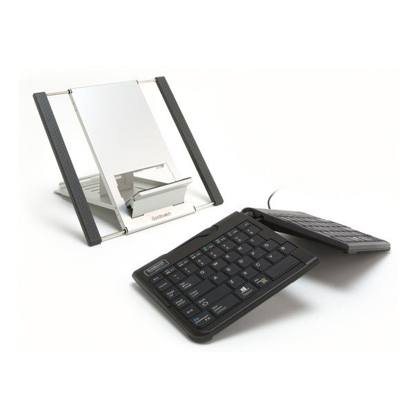 laptop stand and ergonomic keyboard