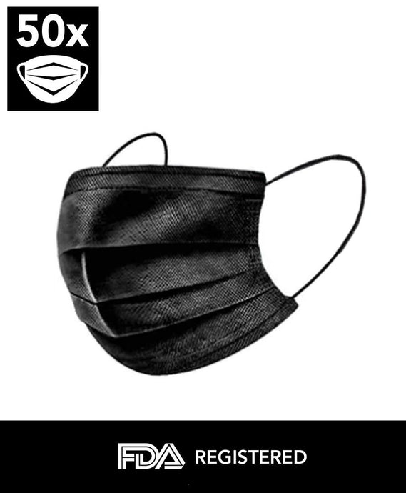 Black Disposable 3-PLY Face Mask (50 Masks) - DMB Supply