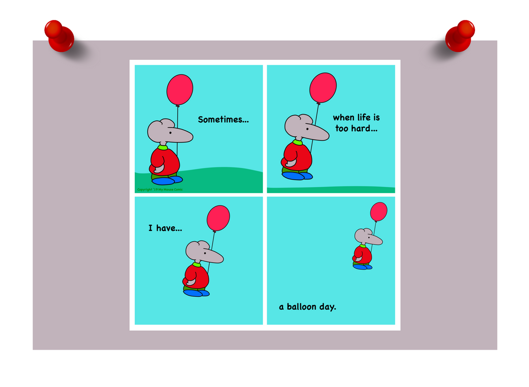 """Balloon Day"" Mouse Mini Print"