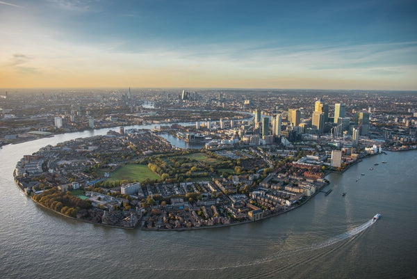 Isle of Dogs, Canary Wharf, London aerial view. 3601