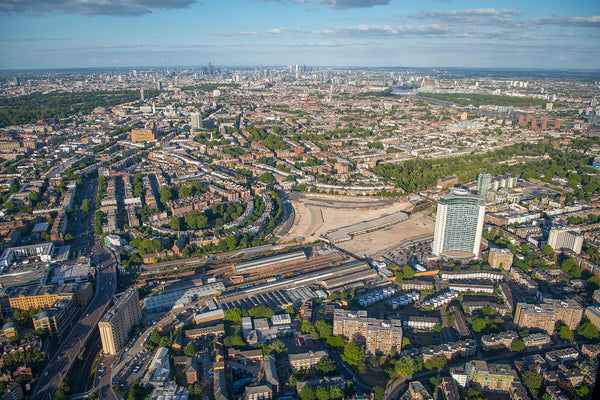 Helicopter aerial view of Earls Court London. Giclée print. JasonHawkes-505083