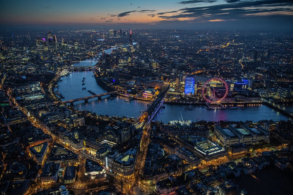 Dawn aerial view of London, River Thames, Westminster, South Bank. 452487