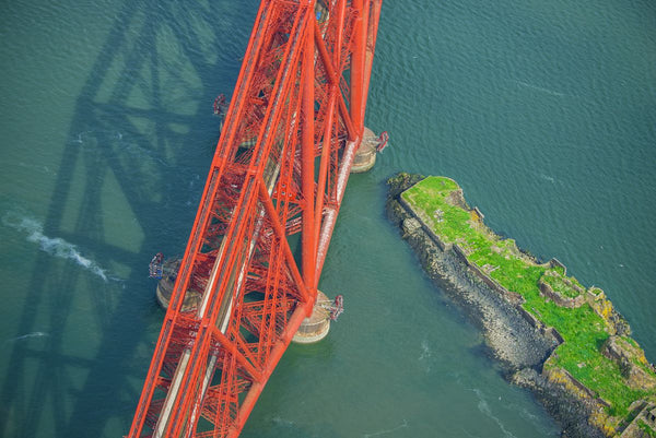 Aerial view of Firth of Fourth rail bridge, Scotland. 7521