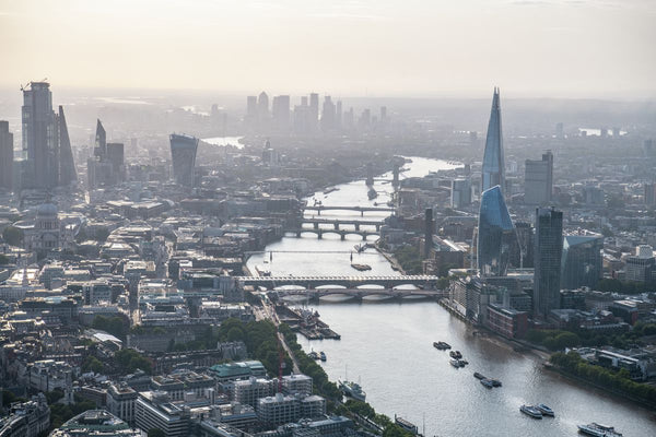River Thames, South Bank, the Shard, City of London, aerial view. 411886