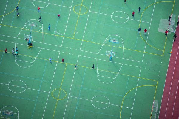 Aerial view of sports playground, Spain. 5917