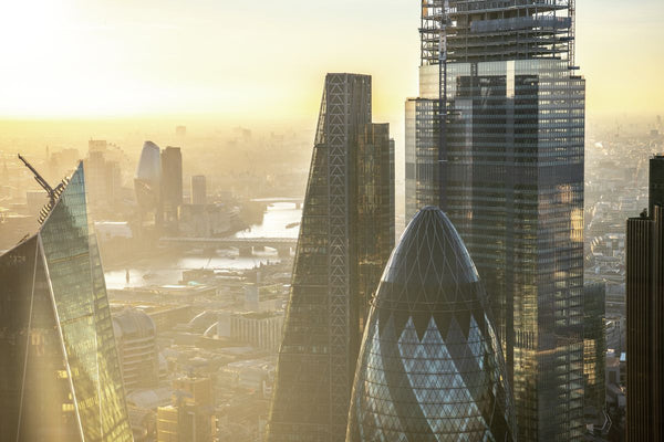 Sunset aerial view of close up of City of London, London. 323073