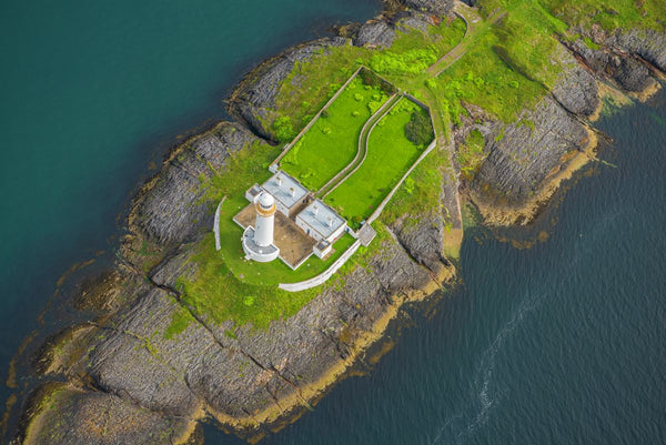 Aerial view of Eilean Musdile lighthouse, Scotland. 8829