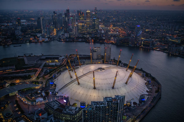 Night aerial view of the O2, Greenwich, London. 384817