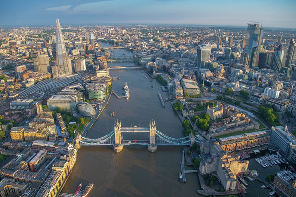 Aerial view of Tower Bridge, Tower of London, River Thames, London. 394919
