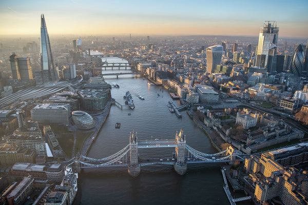 Sunset aerial view of London, Tower Bridge, River Thames. 323033