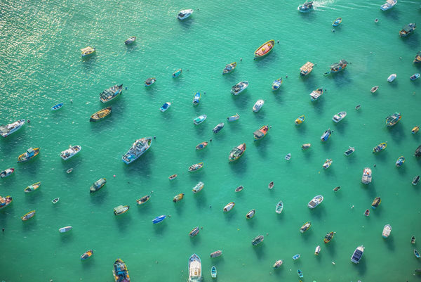 Aerial view of fishing boats in harbour, Malta. 4112