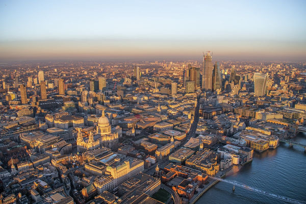 Sunset aerial view of St. Paul's Cathedral and the City of London. 323184