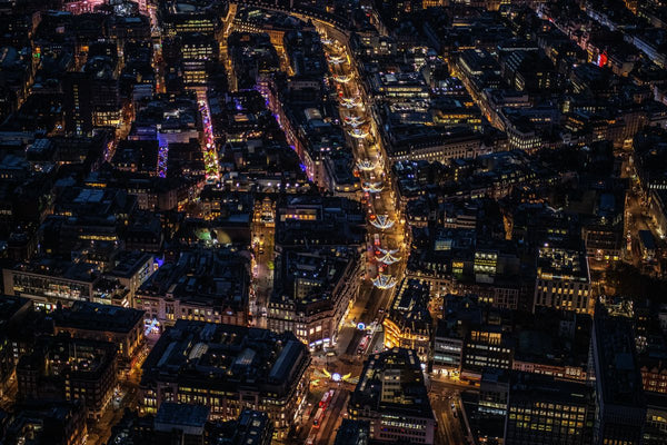 Aerial view of Christmas lights on Oxford Circus and Regents St, London. 452425