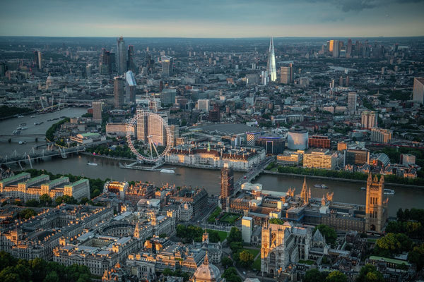 Aerial view of Houses of Parliament, Westminster, River Thames and London Eye, London. 371604